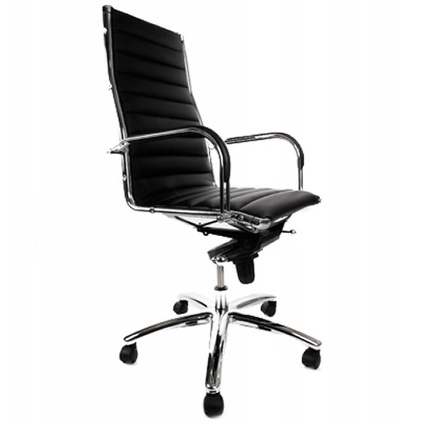 Adjustable Black Office Armchair In Chromed Metal TORINO ...