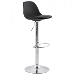 Slimline and height-adjustable BLACK trendy bar stool SUKI