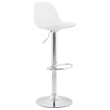 Slimline and height-adjustable WHITE trendy bar stool SUKI
