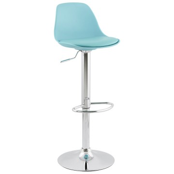 Slimline and height-adjustable BLUE trendy bar stool SUKI