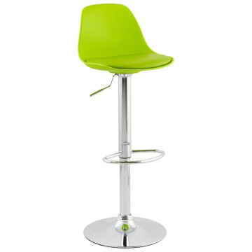 Slimline and height-adjustable GREEN trendy bar stool SUKI