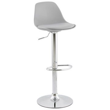 Slimline and height-adjustable GREY trendy bar stool SUKI