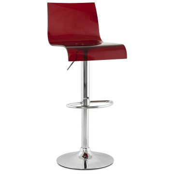 Swivel and adjustable bar stool PLEXI (RED)