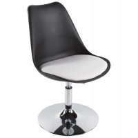 Black and white design chair in resistant polymer with imitation leather seat VICTORIA