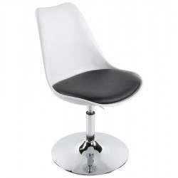WHITE and BLACK design chair with padded seat VICTORIA