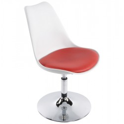 WHITE and RED design chair with padded seat VICTORIA
