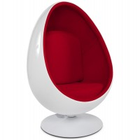 White and red egg rotating armchair with ABS shell and textile UOVO