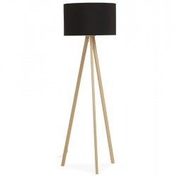 Scandinavian style floor lamp TRIVET (BLACK / NATURAL)
