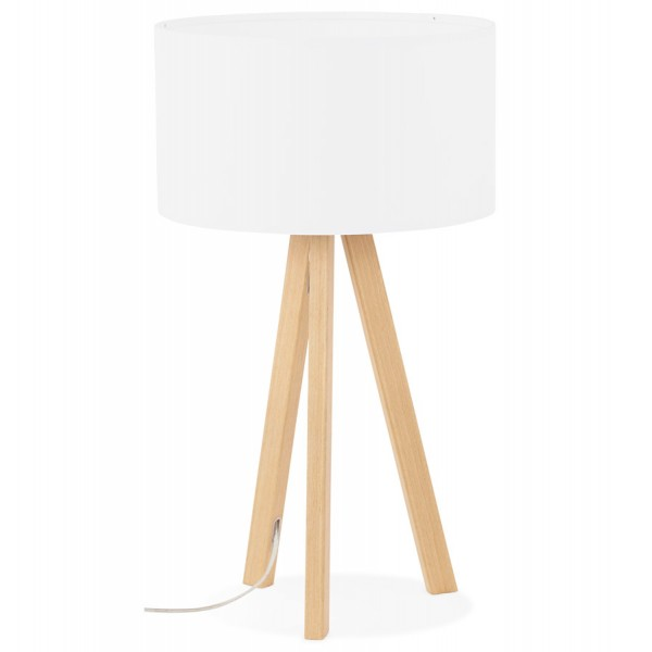 lampe poser style scandinave avec abat jour trivet blanc naturel vistadeco. Black Bedroom Furniture Sets. Home Design Ideas