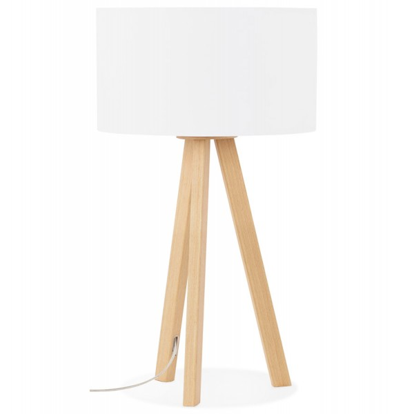 Scandinavian style table lamp with lampshade trivet white natural white desk or bedside lamp with metal wood veneer base trivet aloadofball Image collections