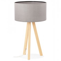 Scandinavian style GREY / NATURAL table lamp with lampshade TRIVET