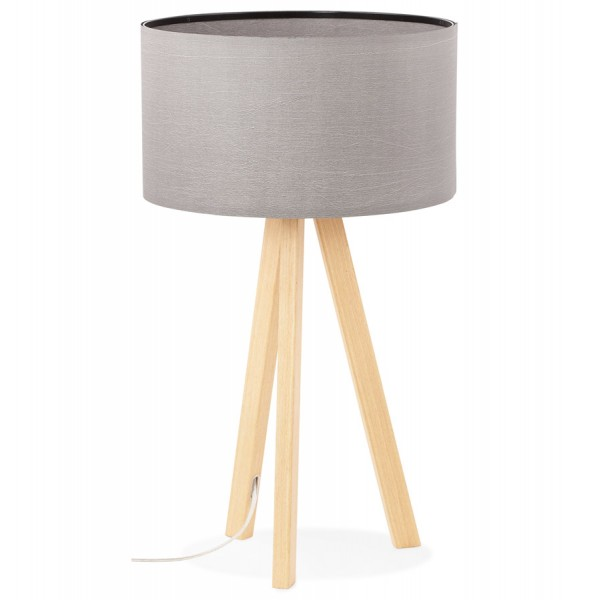 Grey Desk Or Bedside Lamp With Metal Wood Veneer Base Trivet