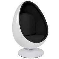 White and black egg armchair with black imitation leather interior and solid shell