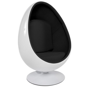 Swivel Egg WHITE and BLACK armchair UOVO