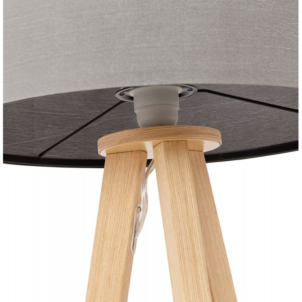 Scandinavian style table lamp with lampshade trivet grey natural grey desk or bedside lamp with metal wood veneer base trivet mozeypictures Gallery