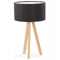 Black desk or bedside lamp with metal wood veneer base