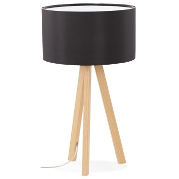 Scandinavian style BLACK / NATURAL table lamp with lampshade TRIVET