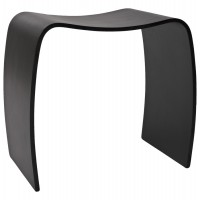 Black low stool or pouf in wood painted MITCH