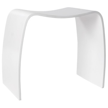 WHITE Side pouffe or low stool MITCH