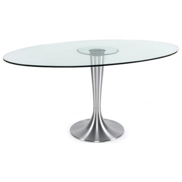 Contempary dining table with tempered glass tabletop OVALNA