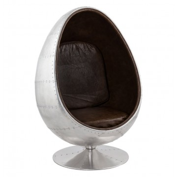Swivel Egg ALUMINUM and BROWN armchair UOVO