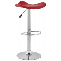 Adjustable red bar stool with imitation leather seat TRIO