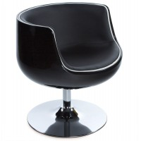 Black tulip armchair in black imitation leather