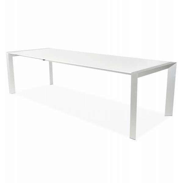 White Dining Table With A Sleek Design, Extensible, With Wooden Top VIGO ...