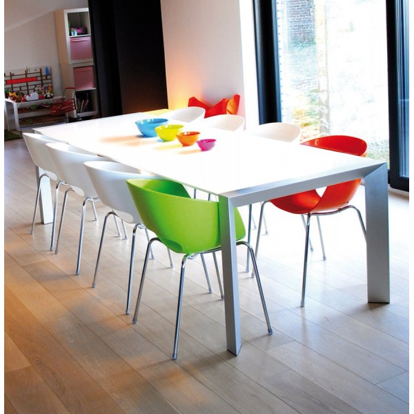 ... White Dining Table With A Sleek Design, Extensible, With Wooden Top  VIGO ...