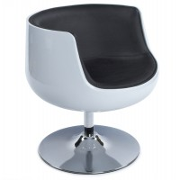 White tulip armchair in black imitation leather