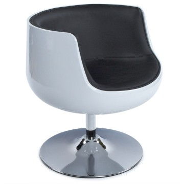 Swivel and comfortable WHITE and BLACK tulip armchair HARLOW