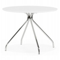 White wooden round table with metal structure