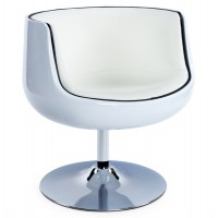 White tulip armchair in white imitation leather