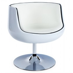 Swivel and comfortable HARLOW tulip armchair (WHITE / WHITE)