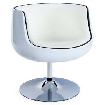 Swivel and comfortable WHITE tulip armchair HARLOW