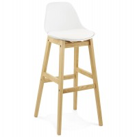 White bar stool with oak frame and padded seat ELODY