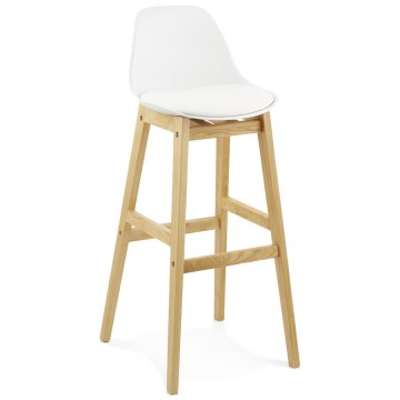 WHITE Bar stool with padded seat ELODY