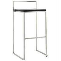 Stackable black bar stool in large format with rectangular lines, with steel structure METO
