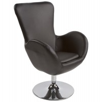 Black comfortable armchair with black imitation leather seat
