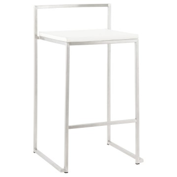 Stackable WHITE bar stool medium format METO