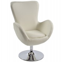 Cream comfortable armchair with cream imitation leather seat