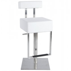Design WHITE bar stool with strong base CUBO