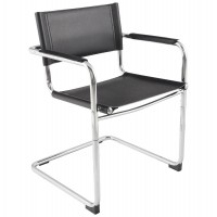 Multi-use chair in chrome metal and black imitation leather