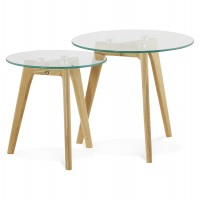 2 low tables of different heights with solid oak base and tempered glass top IGGY