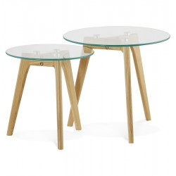 Natural nested coffee tables with tempered glass top IGGY