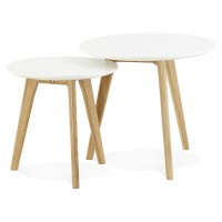 2 low tables of different heights with solid oak legs and white wooden MDF top ESPINO