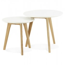 Natural nested coffee tables with white wood top ESPINO