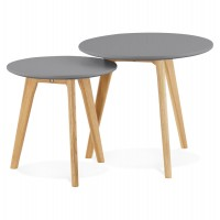 2 low tables of different heights with solid oak legs and dark grey wooden MDF top