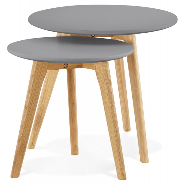 ... 2 Low Tables Of Different Heights With Solid Oak Legs And Dark Grey  Wooden MDF Top ...