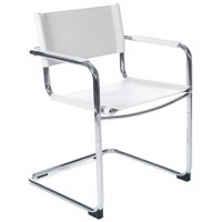 Multi-use chair in chrome metal and white imitation leather